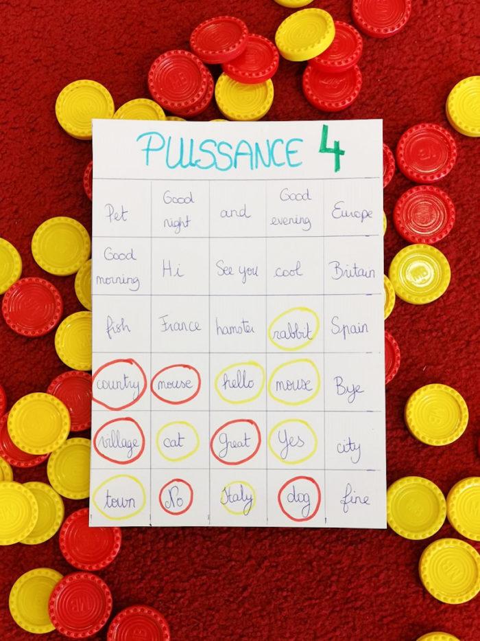 Jeux éducatifs pour apprendre le vocabulaire d'une langue étrangère en s'amsant - puissance 4
