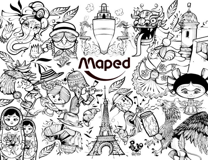 Coloriage enfants thème cultures du Monde Maped Mapiwee