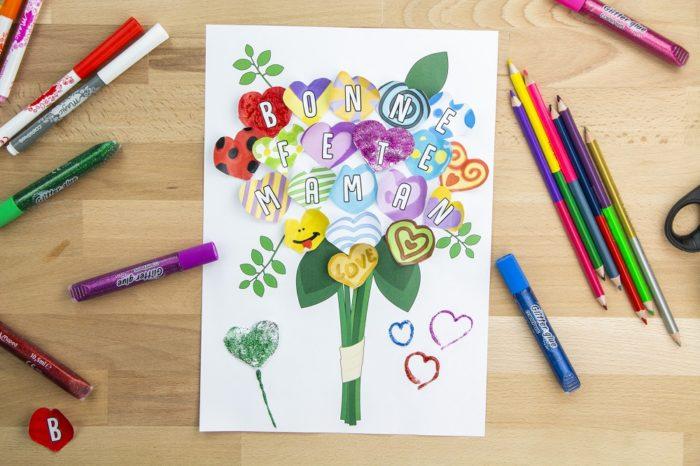 DIY fête des mères bouquet de fleurs en cœurs à créer