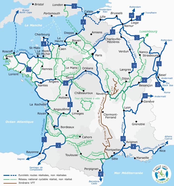 Carte de France des itinéraires à vélo 2020 tourisme