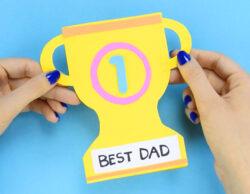 Carte trophée meilleure papa